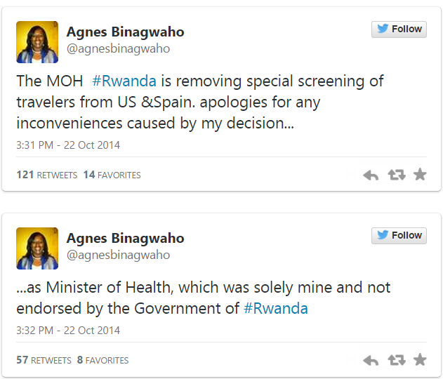 Rwanda lifts its screening of Ebola cases. (Twitter screenshot)